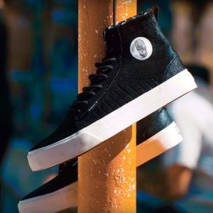 SUPRA X BADWOOD Belmont High Top Black Suede Shoes
